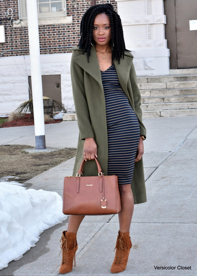 Midi striped dress & olive coat (1)