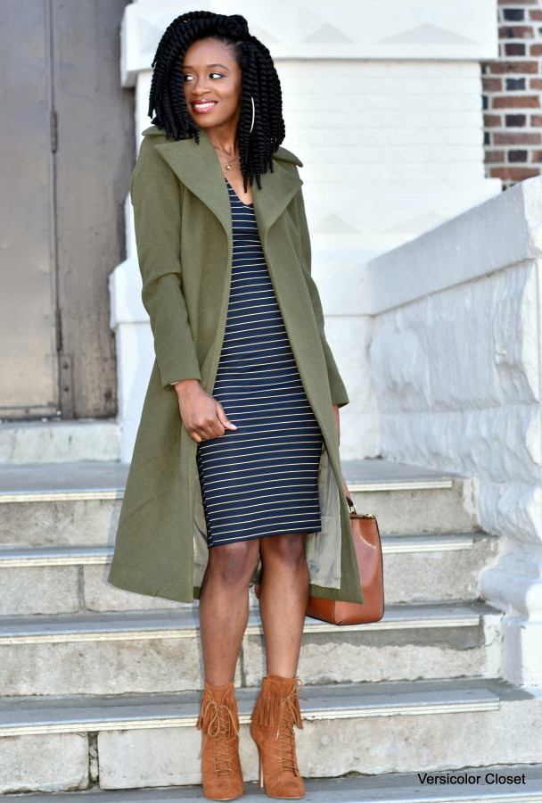 Midi striped dress & olive coat (2)