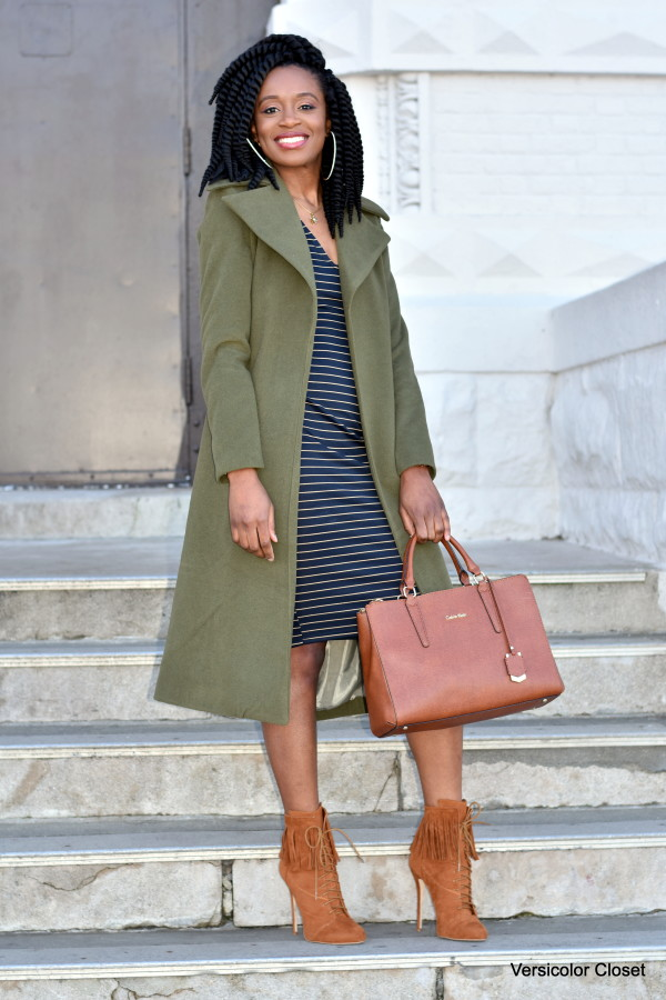 Midi striped dress & olive coat (3)