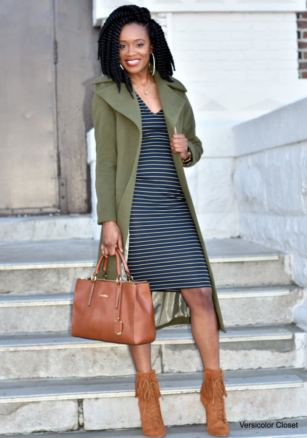 Midi striped dress & olive coat (4)