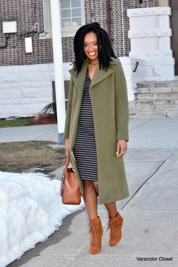 Midi striped dress & olive coat (6)