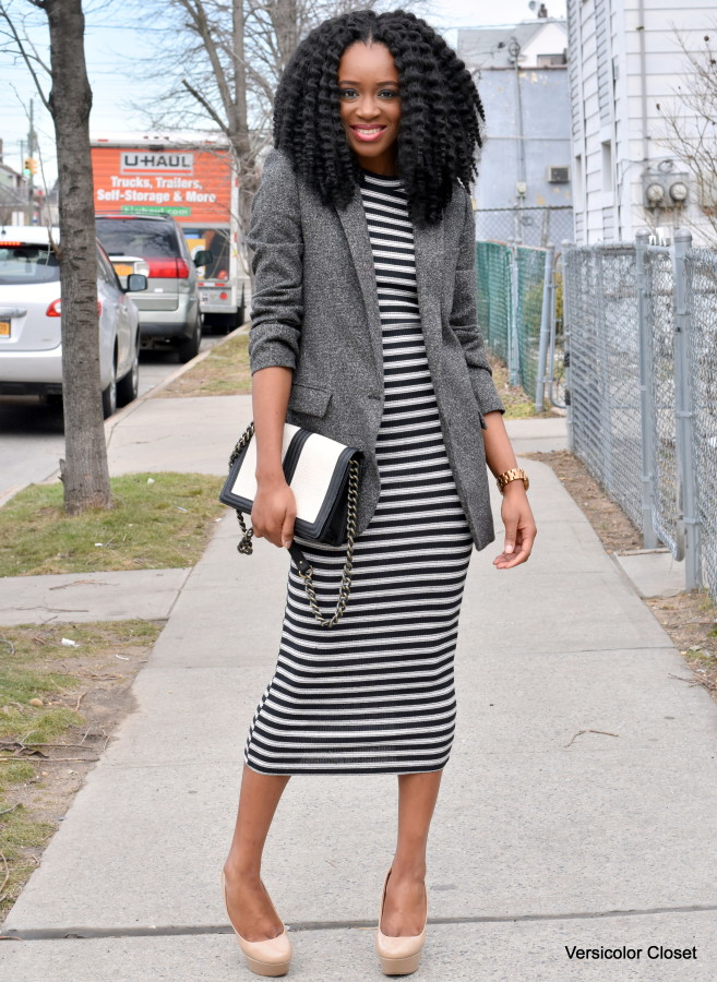 Striped dress + boyfriend blazer (1)