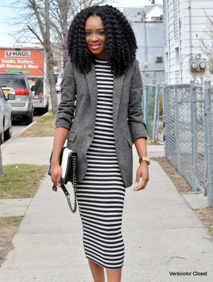 Striped dress + boyfriend blazer (2)