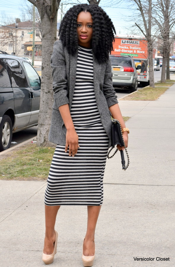 Striped dress + boyfriend blazer (5)