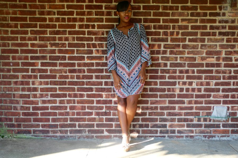 Printed shift dress (1)