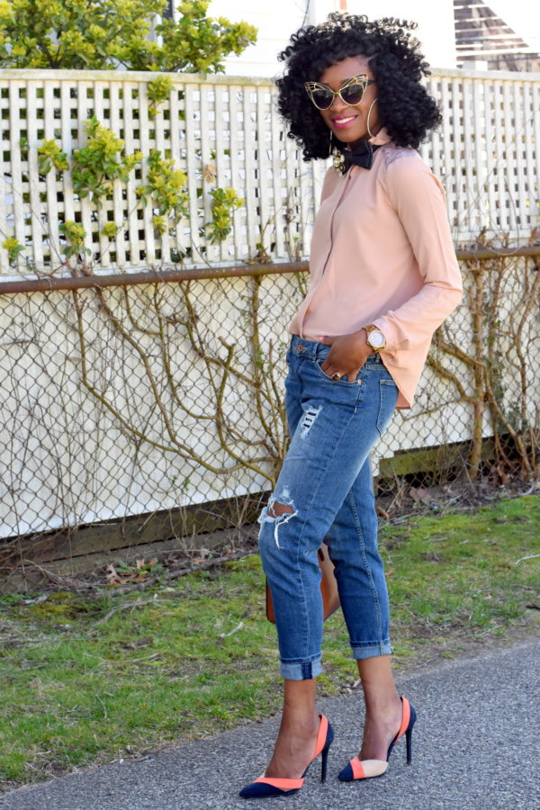 Ripped jeans + bedazzled bow tie (5)