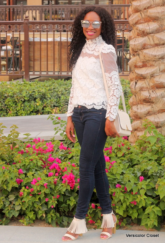 Chicwish Lace top  + Target fringe sandals (2)