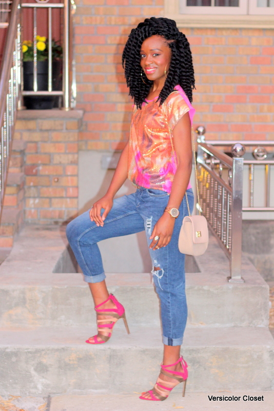 Styling ripped jeans, sequins top & caged heels (3)