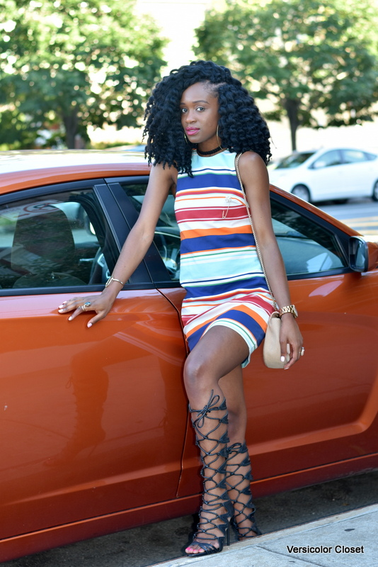 Striped dress & gladiator heels (11)