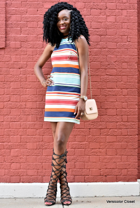 Striped dress & gladiator heels (4)
