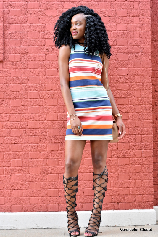 Striped dress & gladiator heels (5)