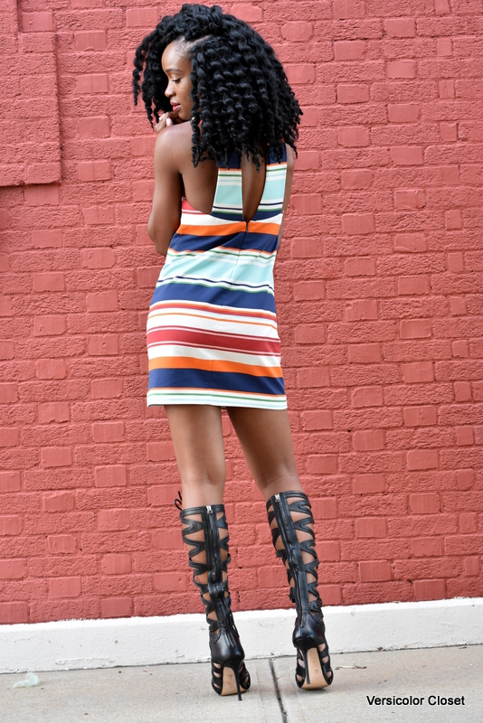 Striped dress & gladiator heels (7)