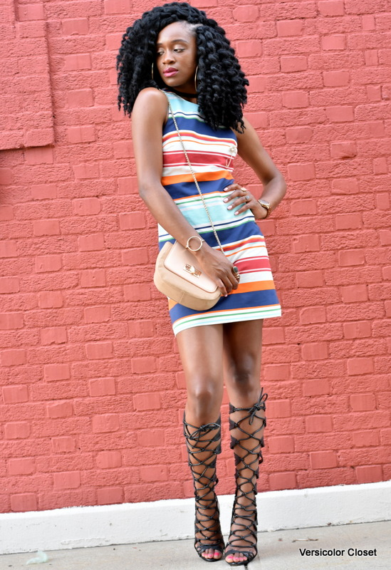 Striped dress & gladiator heels (8)