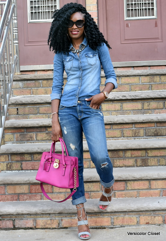 Zara denim & H&M chambray top - canadian tuxedo (1)