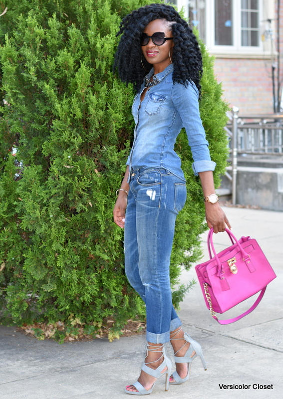 Zara denim & H&M chambray top - canadian tuxedo (11)