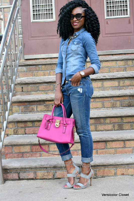 Zara denim & H&M chambray top - canadian tuxedo (2)
