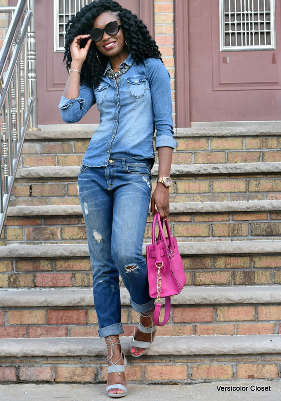 Zara denim & H&M chambray top - canadian tuxedo (4)