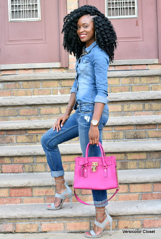 Zara denim & H&M chambray top - canadian tuxedo (6)