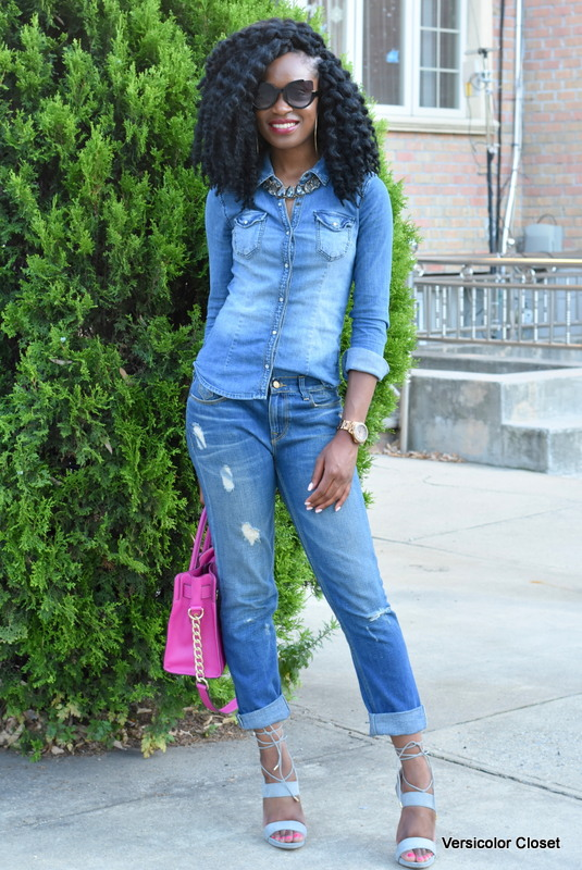 Zara denim & H&M chambray top - canadian tuxedo (9)