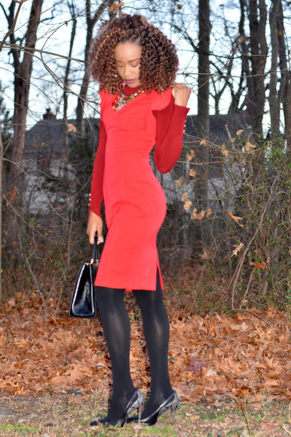 What to wear to the office / work style / red midi dress for work