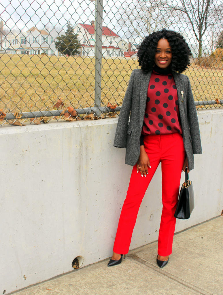red and burgundy work outfit ideas for valentine's day