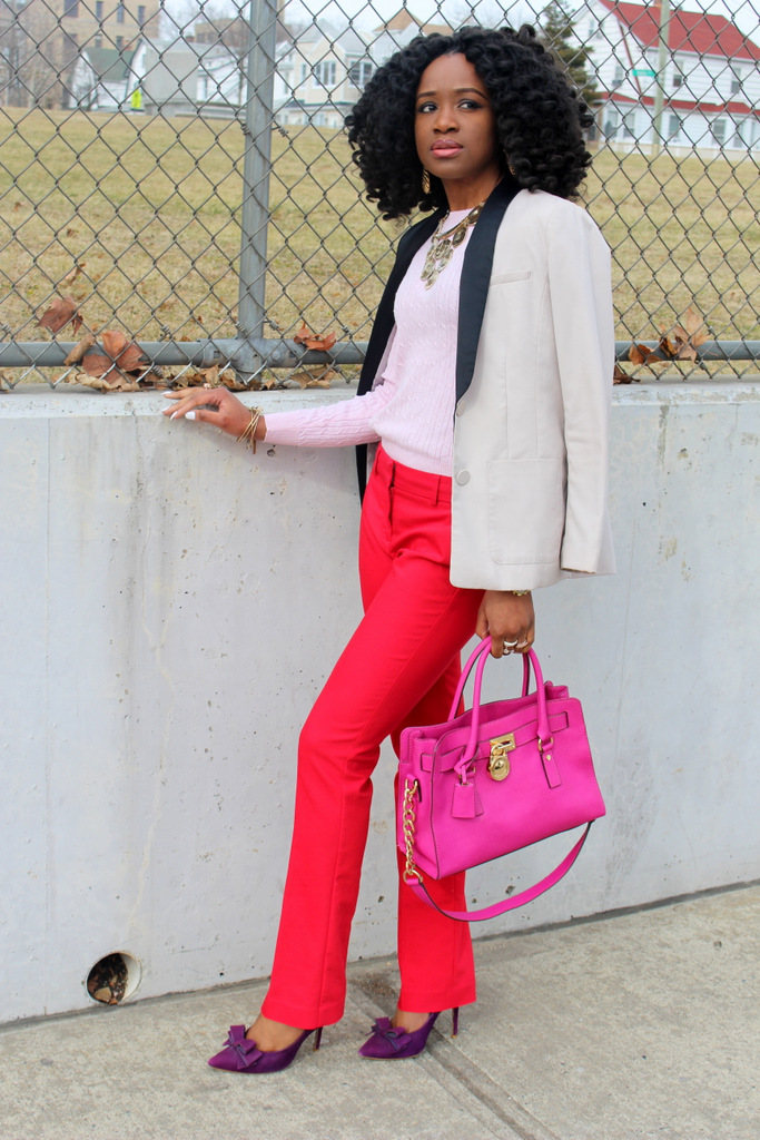 pink, red and purple outfit combo
